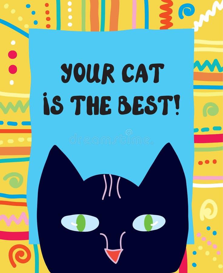 Tarjeta de felicitación divertida del mejor gato stock de ilustración