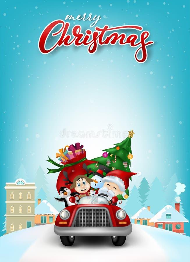 Tarjeta de felicitación divertida de la Navidad, con Santa Claus, los ciervos, el muñeco de nieve y el pingüino en coche ilustración del vector