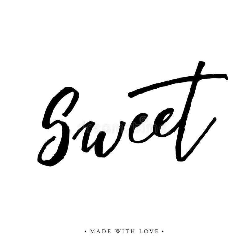 Tarjeta de felicitación dulce del amor con caligrafía stock de ilustración