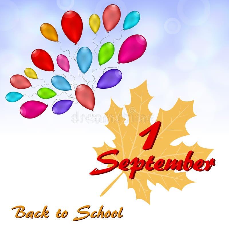 Tarjeta de felicitación el 1 de septiembre stock de ilustración