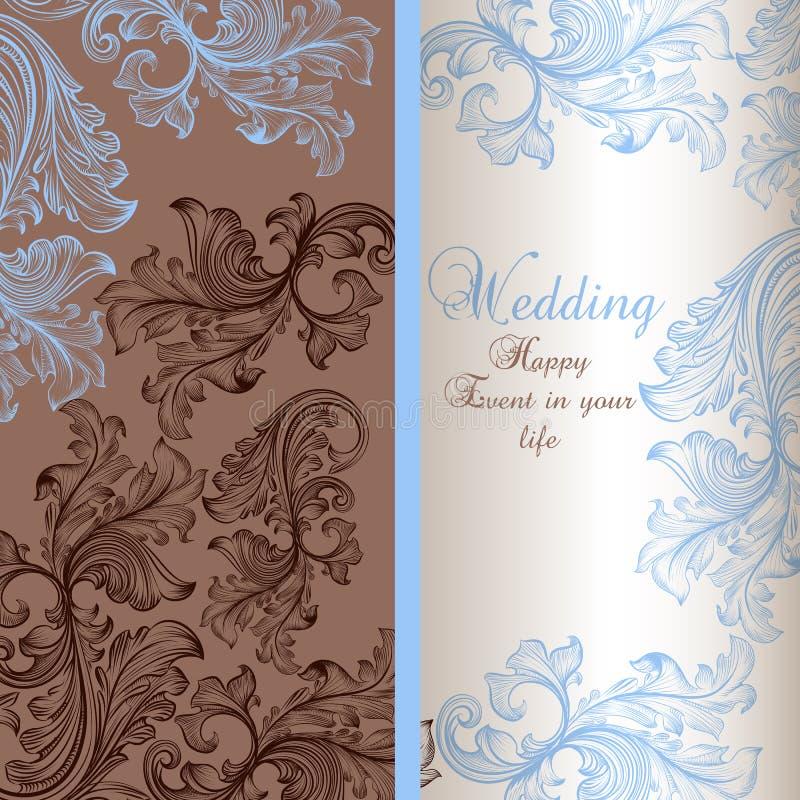 Tarjeta de felicitación elegante de la boda stock de ilustración