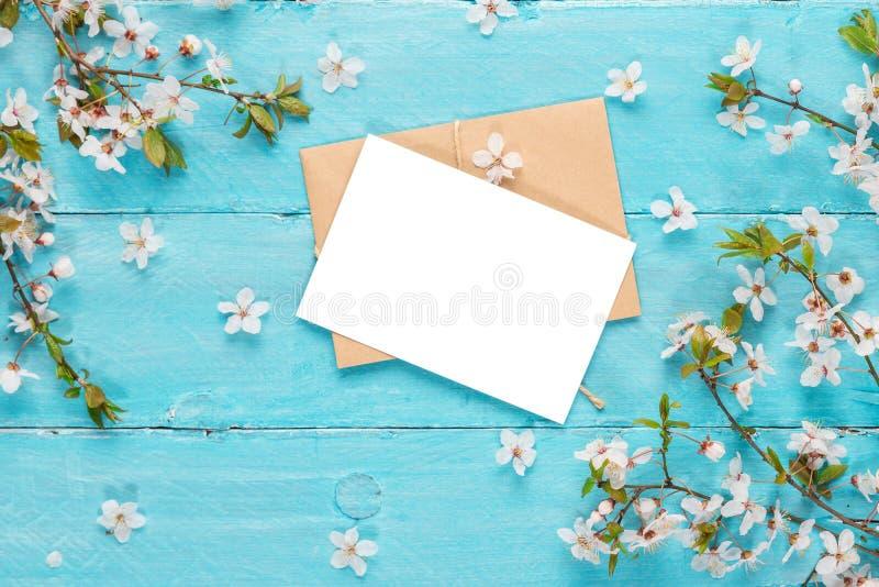 Tarjeta de felicitaci?n en blanco con las flores de la cereza de la primavera en fondo de madera azul Endecha plana Visi?n superi fotos de archivo libres de regalías