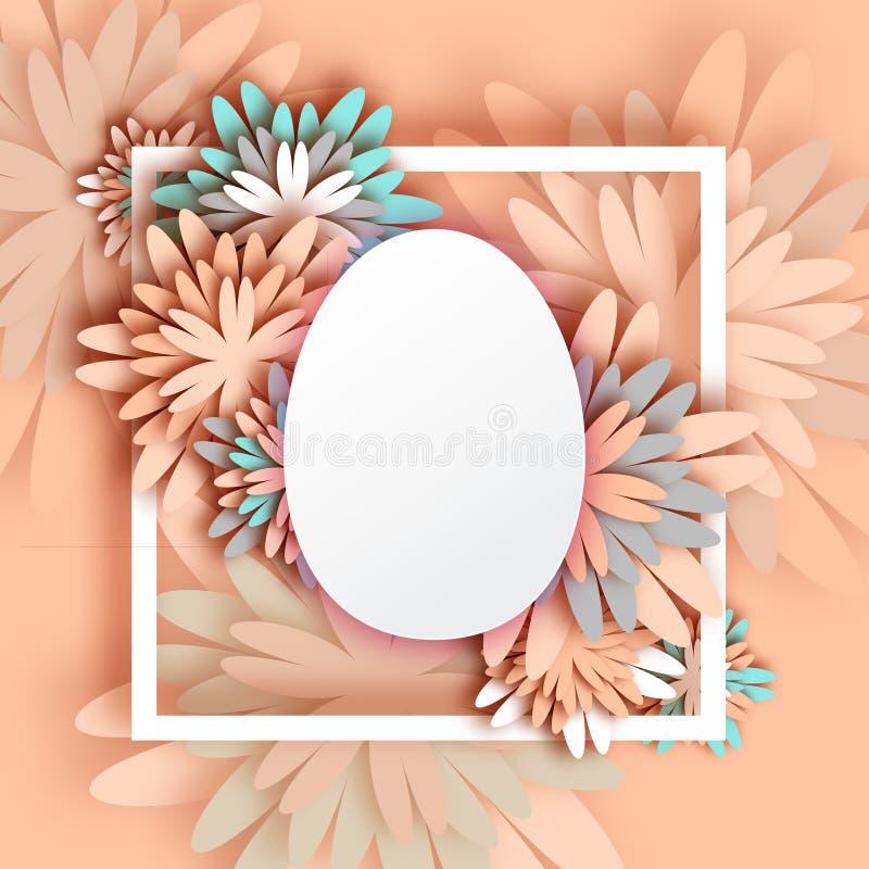 Tarjeta de felicitación en colores pastel abstracta - día feliz de Pascua - huevo de Pascua de la primavera stock de ilustración