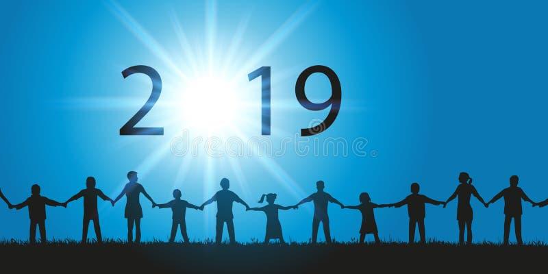 Tarjeta de felicitación 2019 en el concepto de fraternity con la gente que sacude las manos que miran el cielo libre illustration