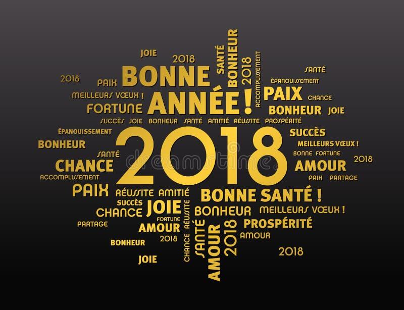 Tarjeta de felicitación 2018 en lengua francesa stock de ilustración