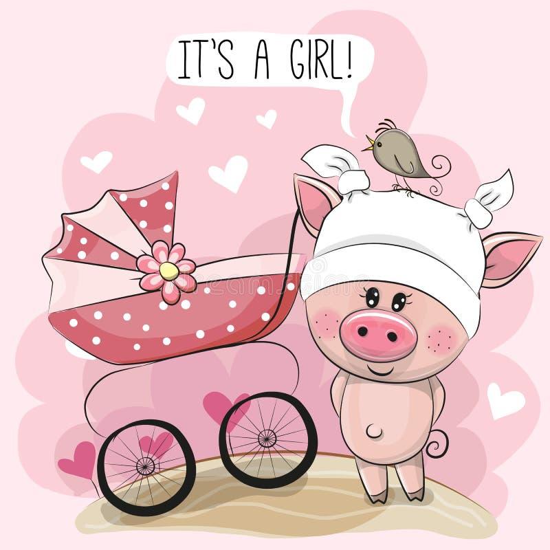 Tarjeta de felicitación es una muchacha con el carro de bebé y guarro libre illustration