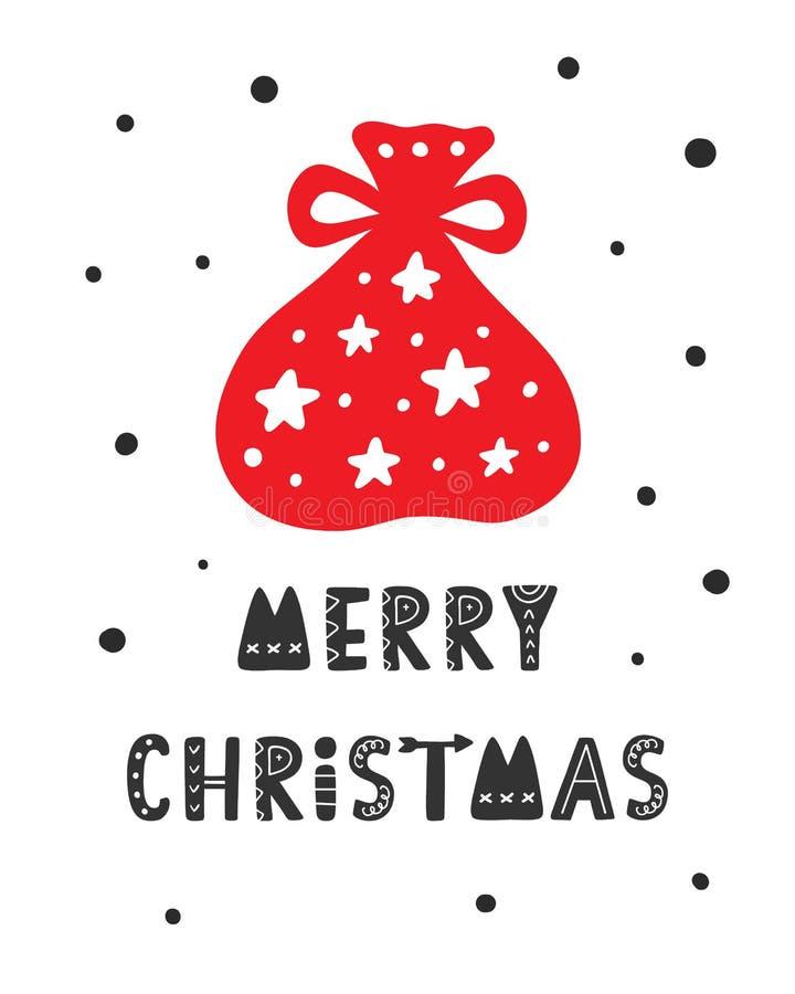 Tarjeta de felicitación escandinava de la Feliz Navidad stock de ilustración