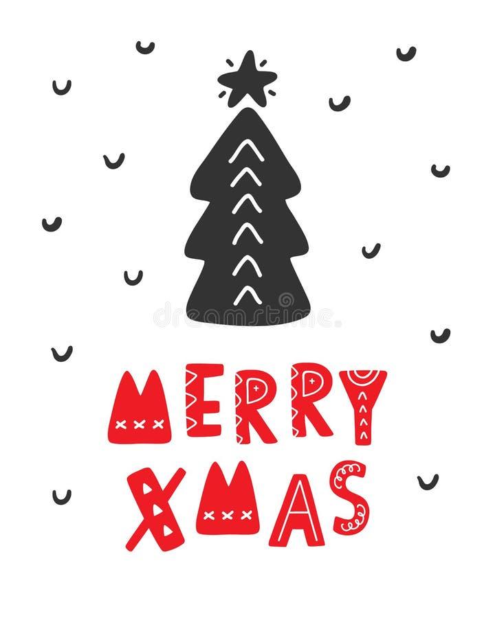 Tarjeta de felicitación escandinava de la Feliz Navidad libre illustration