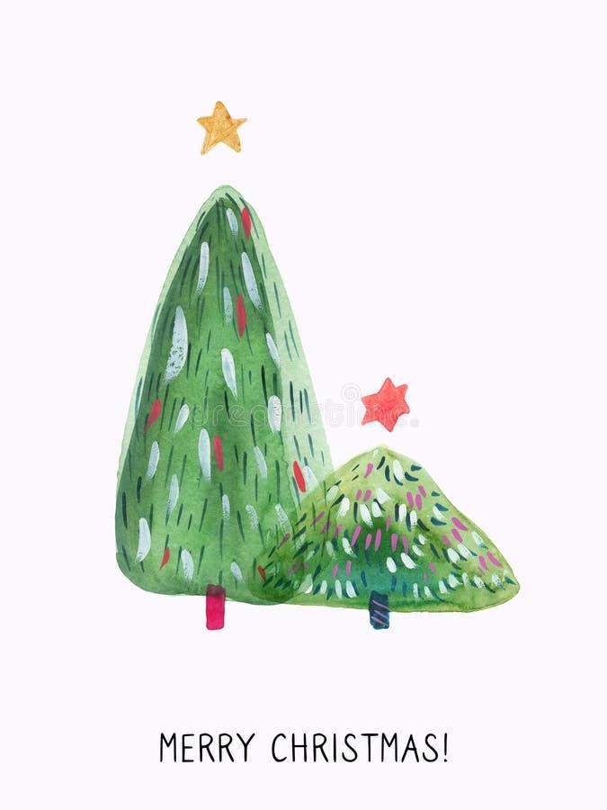 Tarjeta de felicitación exhausta de la acuarela de la mano del árbol de navidad ilustración del vector