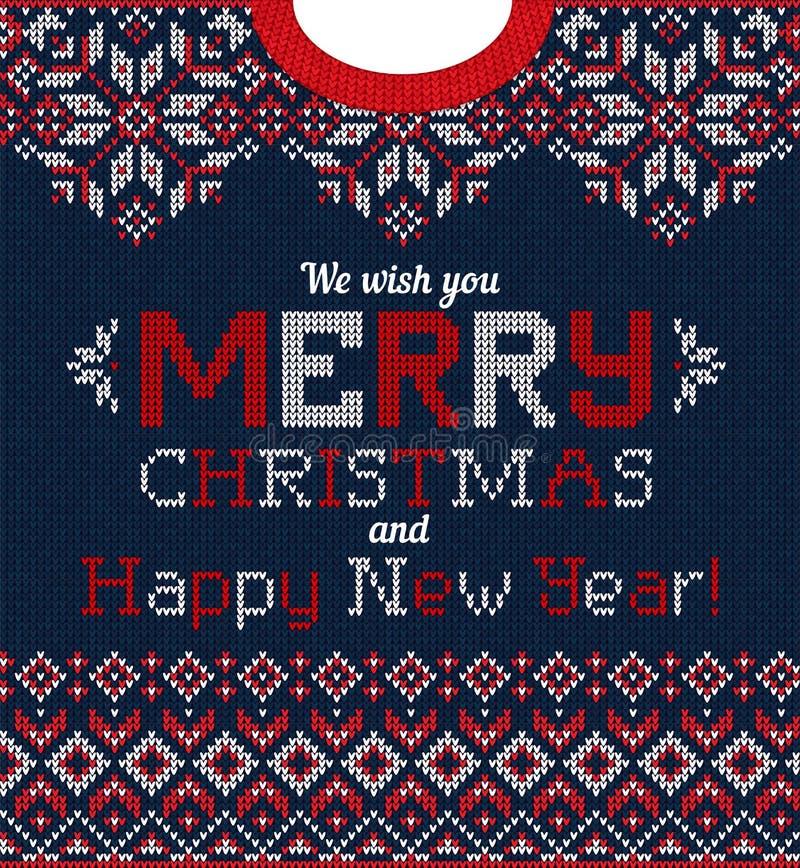 Tarjeta de felicitación fea de la fiesta de Navidad del suéter Modelo hecho punto del escandinavo del fondo stock de ilustración