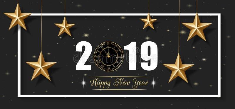 Tarjeta de felicitación de 2019 Felices Año Nuevo y de la Feliz Navidad con la estrella y el reloj de oro ilustración del vector