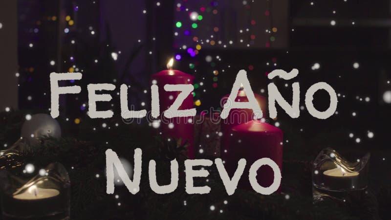 Tarjeta de felicitación Feliz Ano Nuevo, Feliz Año Nuevo en lengua española fotografía de archivo