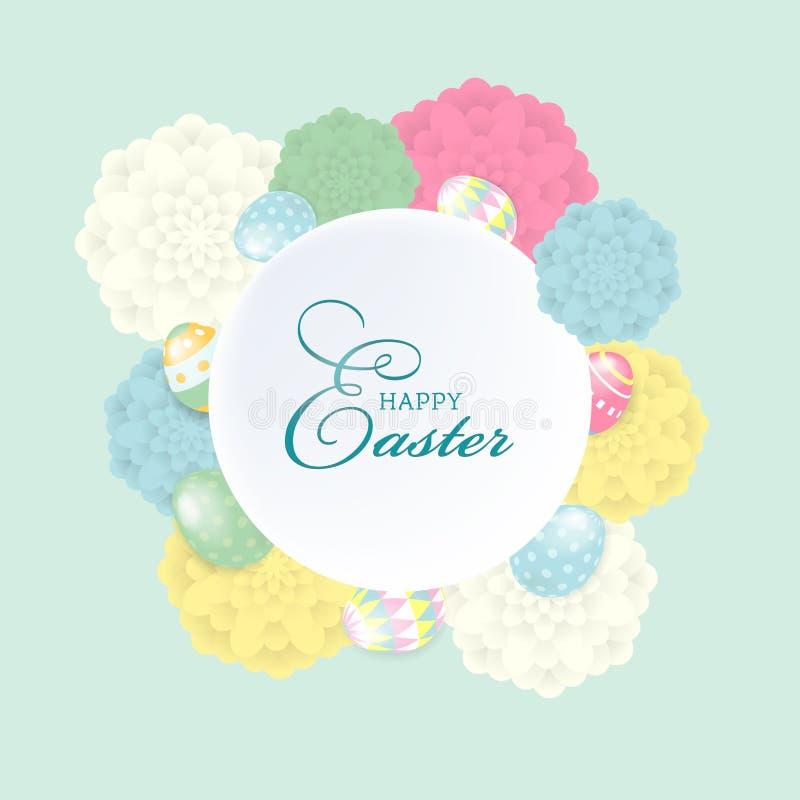 Tarjeta de felicitación feliz colorida de Pascua con la composición de los huevos de las flores y de los elementos de las letras  ilustración del vector