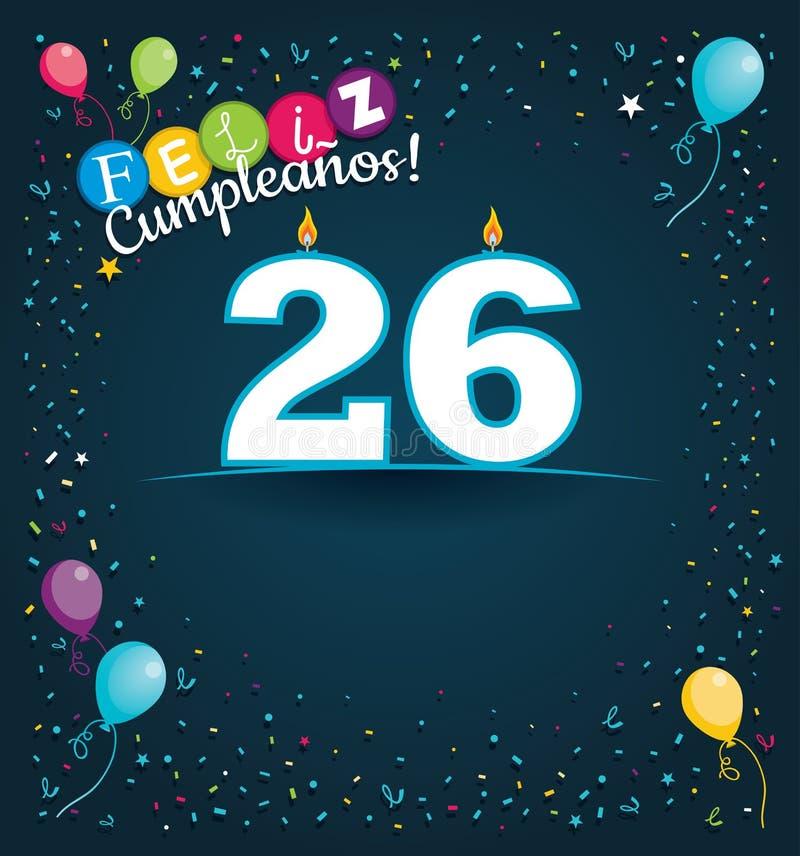 Tarjeta de felicitación de Feliz Cumpleanos 26 - feliz cumpleaños 26 en lengua española - con las velas blancas libre illustration