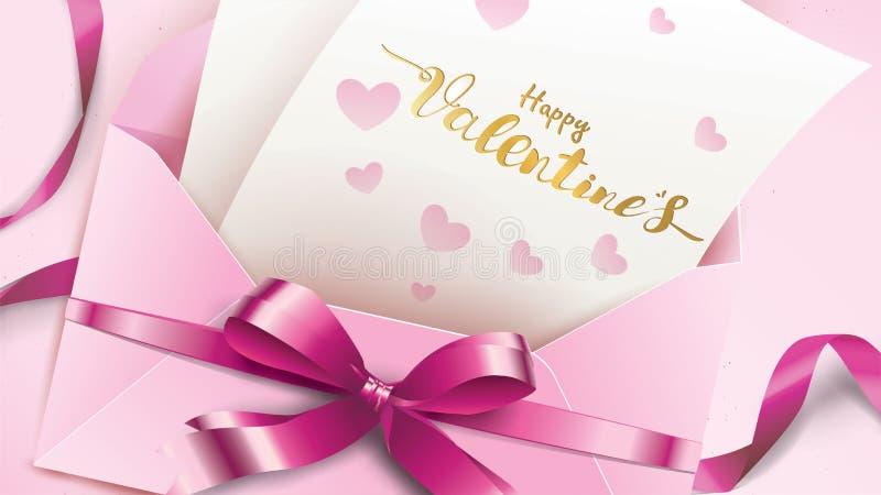 Tarjeta de felicitación feliz de día de San Valentín con el sobre rosado y el corazón púrpura Texto del concepto del amor de la t stock de ilustración