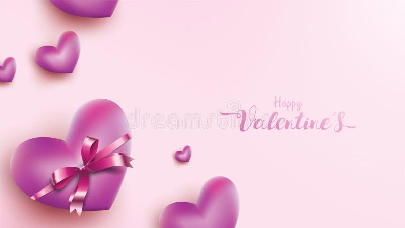 Tarjeta de felicitación feliz de día de San Valentín con la cinta del globo del rosa y del corazón púrpura Concepto del fondo del stock de ilustración