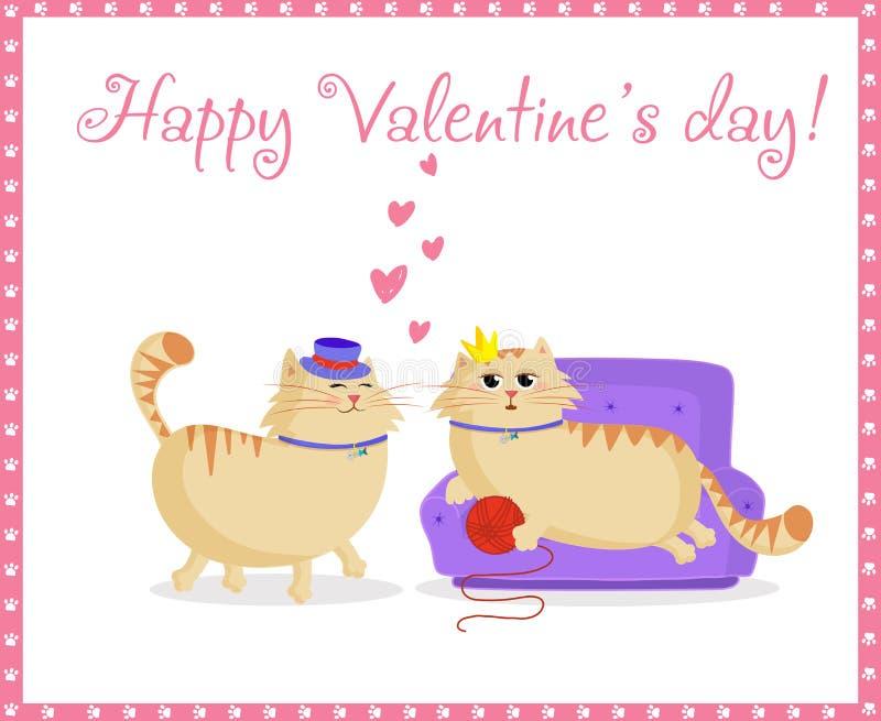 Tarjeta de felicitación feliz de día de San Valentín con los gatos lindos muchacho y muchacha de la historieta en amor ilustración del vector
