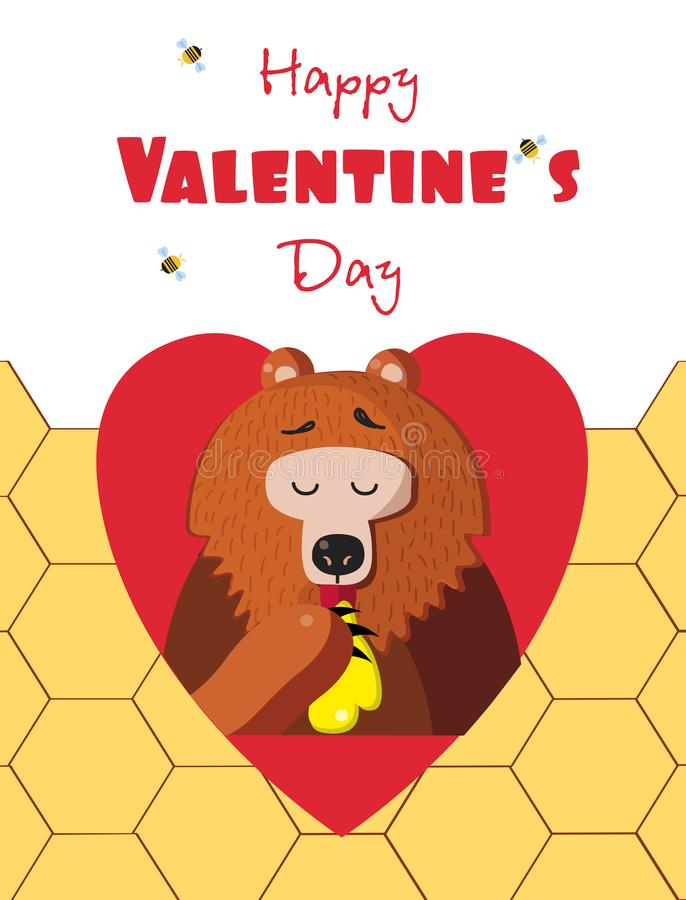 Tarjeta de felicitación feliz de día de San Valentín del oso lindo que come la miel en corazón rojo ilustración del vector