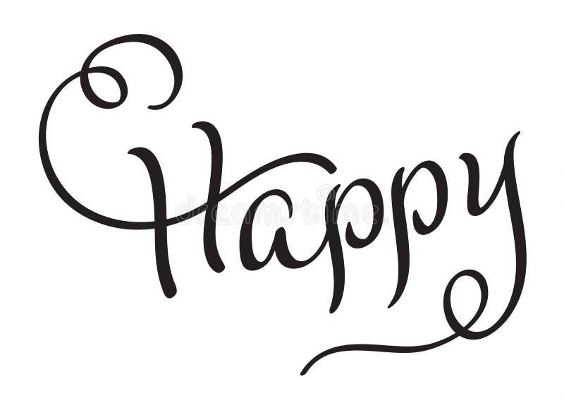 Tarjeta de felicitación feliz de la inscripción Título dibujado de las letras de la caligrafía de la mano negra Ilustración EPS10 stock de ilustración