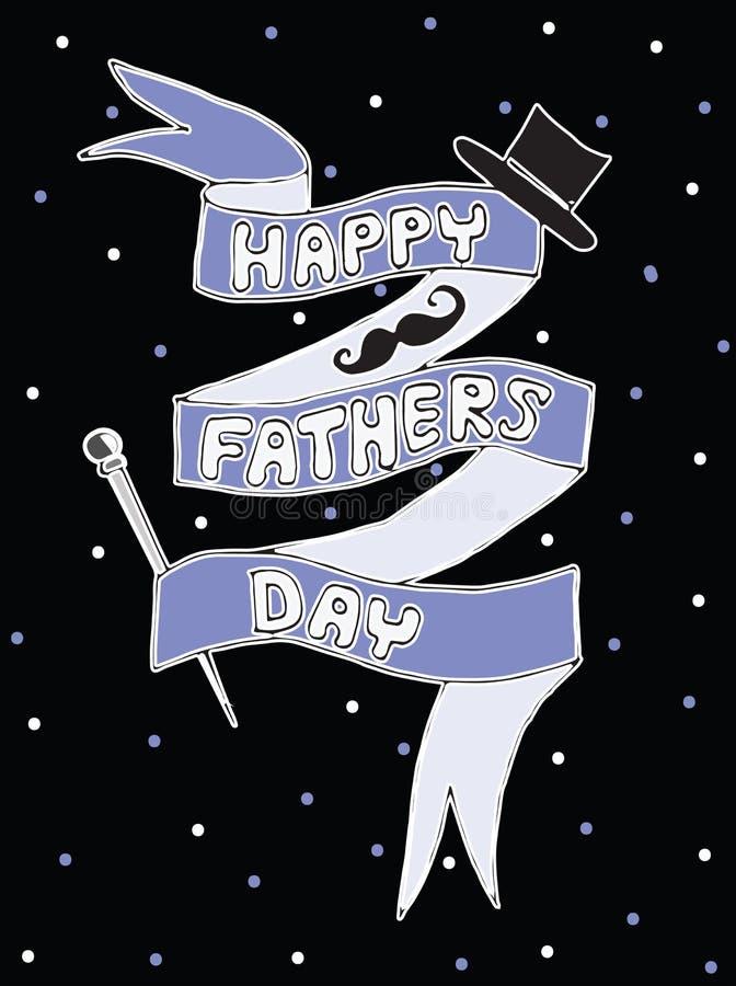 Tarjeta de felicitación feliz de las letras de día de padres stock de ilustración