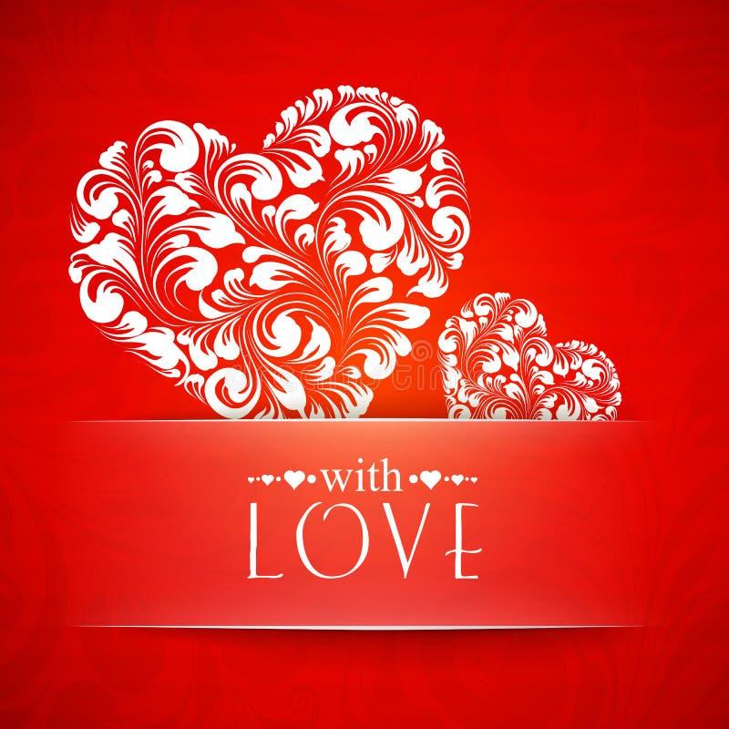 Tarjeta de felicitación feliz de las tarjetas del día de San Valentín. libre illustration