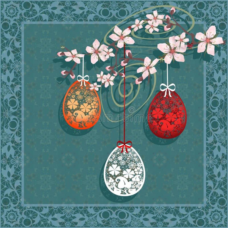 Tarjeta de felicitación feliz de Pascua ilustración del vector