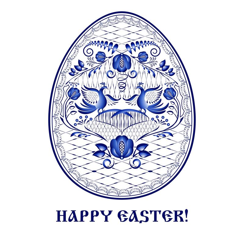 Tarjeta de felicitación feliz de Pascua con el estampado de flores azul en estilo de la pintura nacional de la porcelana stock de ilustración