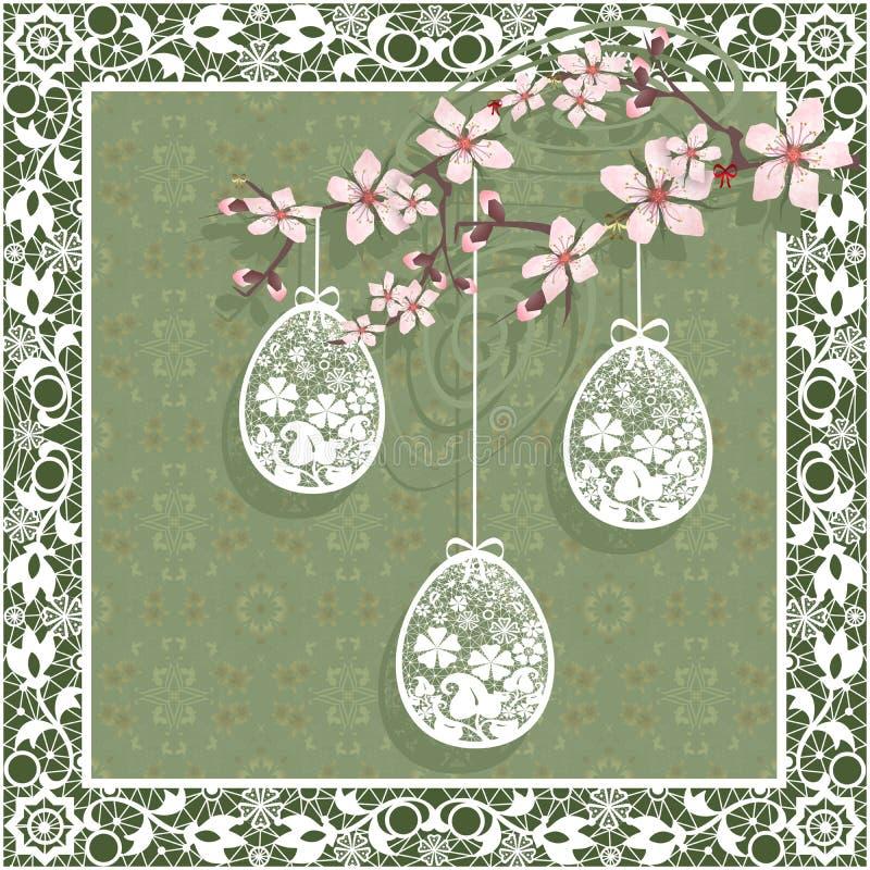 Tarjeta de felicitación feliz de Pascua con los egges y la rama ilustración del vector