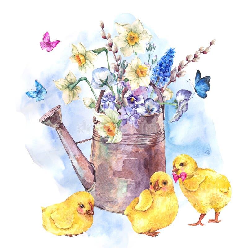 Tarjeta de felicitación feliz de Pascua del vintage con el ramo de la primavera ilustración del vector