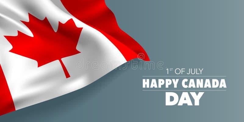 Tarjeta de felicitación feliz del día de Canadá, bandera con el ejemplo del vector del texto de la plantilla stock de ilustración