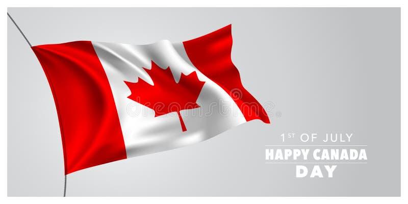 Tarjeta de felicitación feliz del día de Canadá, bandera, ejemplo horizontal del vector stock de ilustración