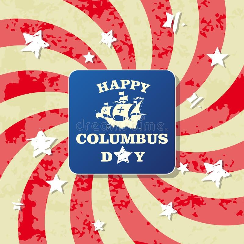 Tarjeta de felicitación feliz del día de Colón stock de ilustración