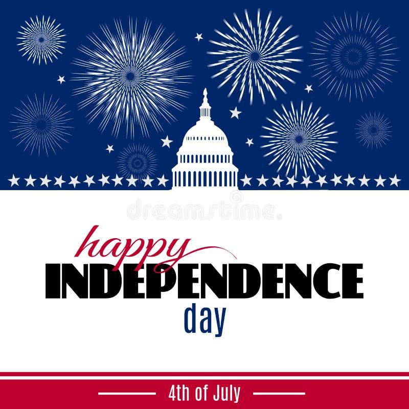 Tarjeta de felicitación feliz del Día de la Independencia libre illustration