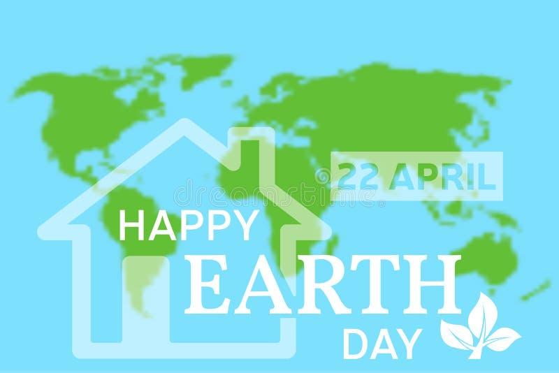 Tarjeta de felicitación feliz del Día de la Tierra Ejemplo del vector con el hous libre illustration