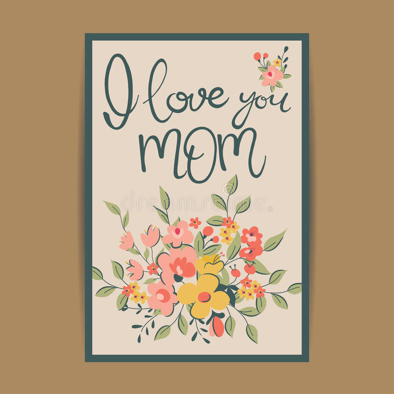 Tarjeta de felicitación feliz del día de madre ilustración del vector