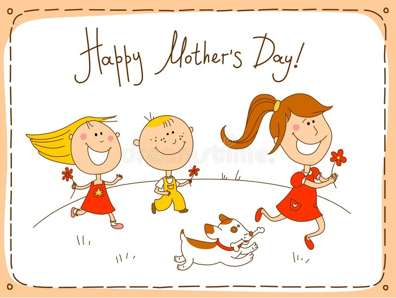 Tarjeta de felicitación feliz del día de madres ilustración del vector