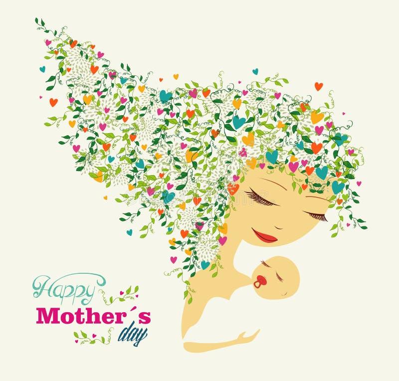 Tarjeta de felicitación feliz del día de madres stock de ilustración