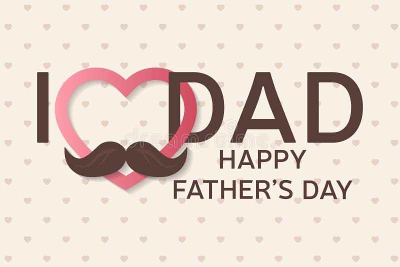 Tarjeta de felicitación feliz del día de padre Cartel feliz del día de padre Te amo papá stock de ilustración