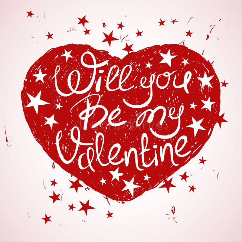 Tarjeta de felicitación feliz del día de tarjeta del día de San Valentín con el corazón ilustración del vector