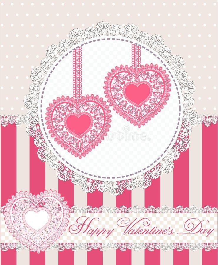 Tarjeta de felicitación feliz del día de tarjetas del día de San Valentín con dos corazones del cordón en estilo retro Ilustració ilustración del vector