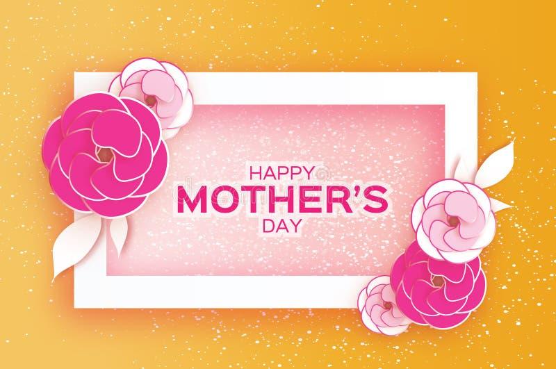 Tarjeta de felicitación feliz del día del ` s de la madre Flor de corte de papel en colores pastel rosada Marco del rectángulo Es libre illustration
