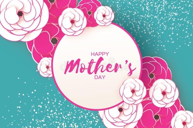 Tarjeta de felicitación feliz del día del ` s de la madre Flor de corte rosada del Libro Blanco Marco del círculo Espacio para el libre illustration
