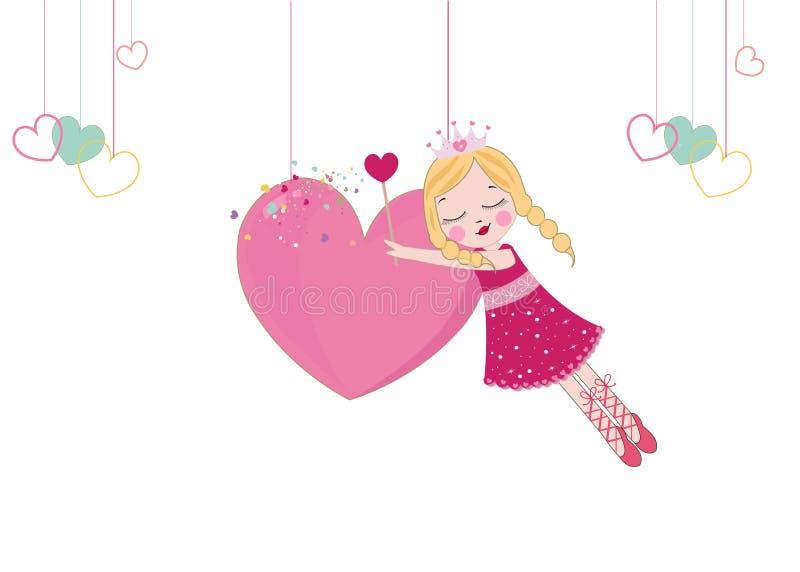 Tarjeta de felicitación feliz del día del `s de la tarjeta del día de San Valentín Cuento de hadas lindo que lleva a cabo el cora ilustración del vector