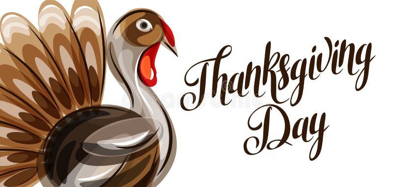 Tarjeta de felicitación feliz del día de la acción de gracias con el pavo abstracto stock de ilustración