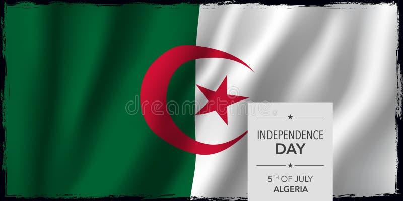 Tarjeta de felicitación feliz del Día de la Independencia de Argelia, ejemplo del vector de la bandera libre illustration