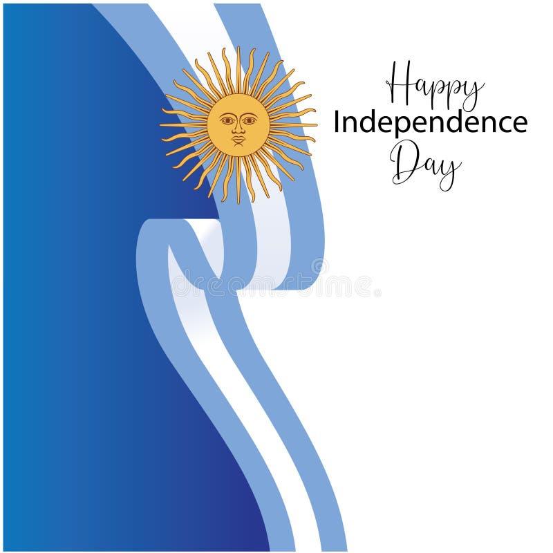 Tarjeta de felicitación feliz del Día de la Independencia de la Argentina, bandera, ejemplo del vector - vector ilustración del vector