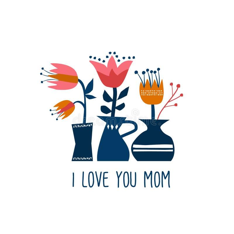 Tarjeta de felicitación feliz del día de la madre de las flores de la primavera ilustración del vector