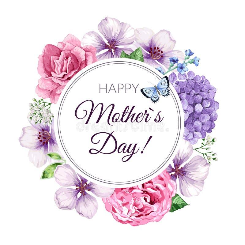 Tarjeta de felicitación feliz del día de la madre s en fondo floral Diseño de tarjeta de la enhorabuena con las flores y las letr libre illustration