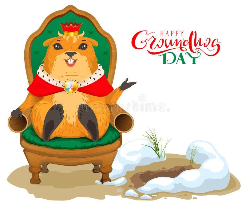 Tarjeta de felicitación feliz del día de la marmota Rey de la marmota que se sienta en silla del trono stock de ilustración