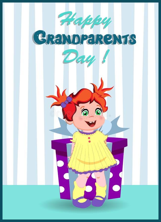 Tarjeta de felicitación feliz del día de los abuelos con la muchacha linda que sostiene la caja de regalo libre illustration
